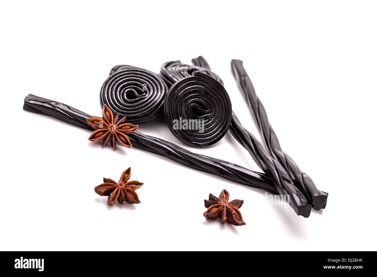 Licorice Candy And Star Anise - Stock Image