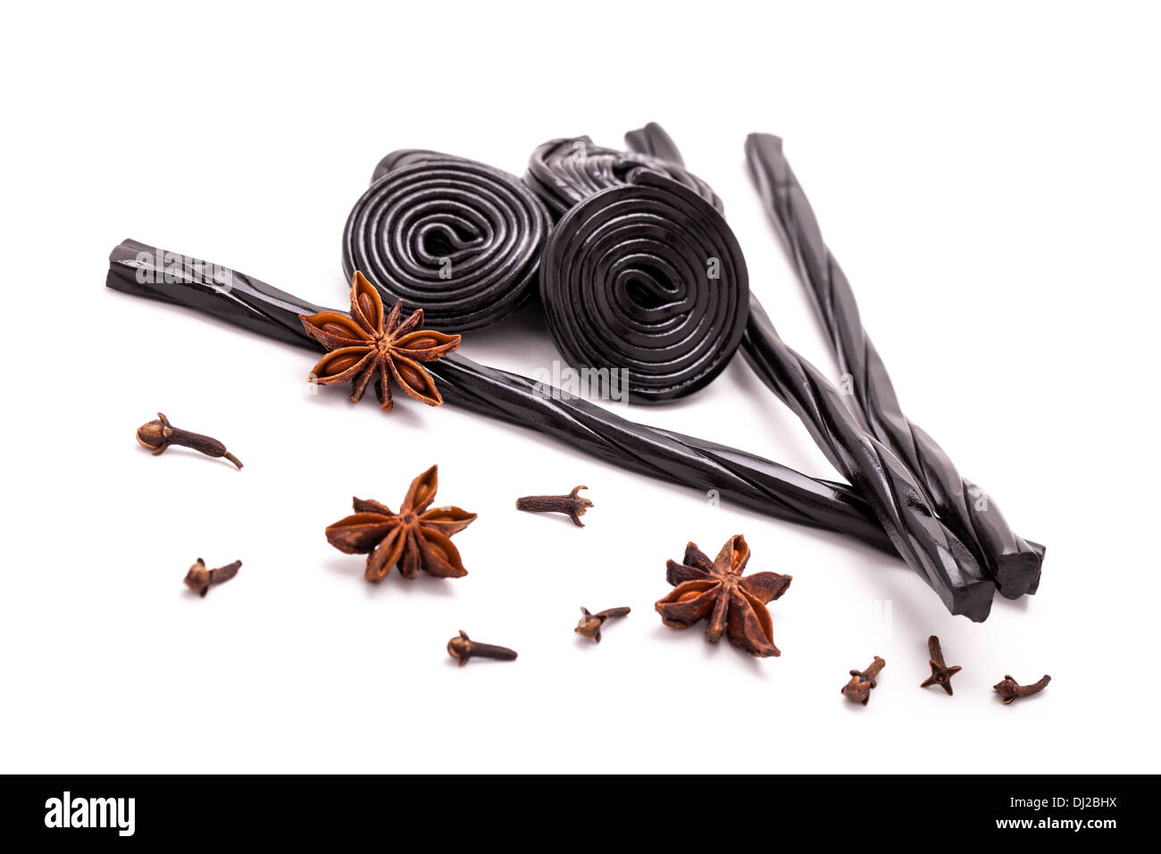 Licorice Candy, Star Anise And Cloves - Stock Image