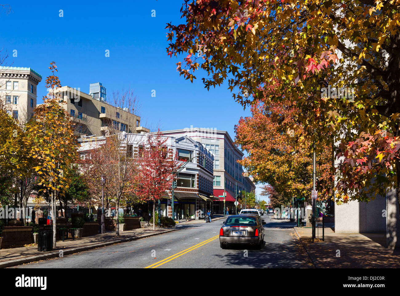 Haywood Street in downtown Asheville, North Carolina, USA - Stock Image