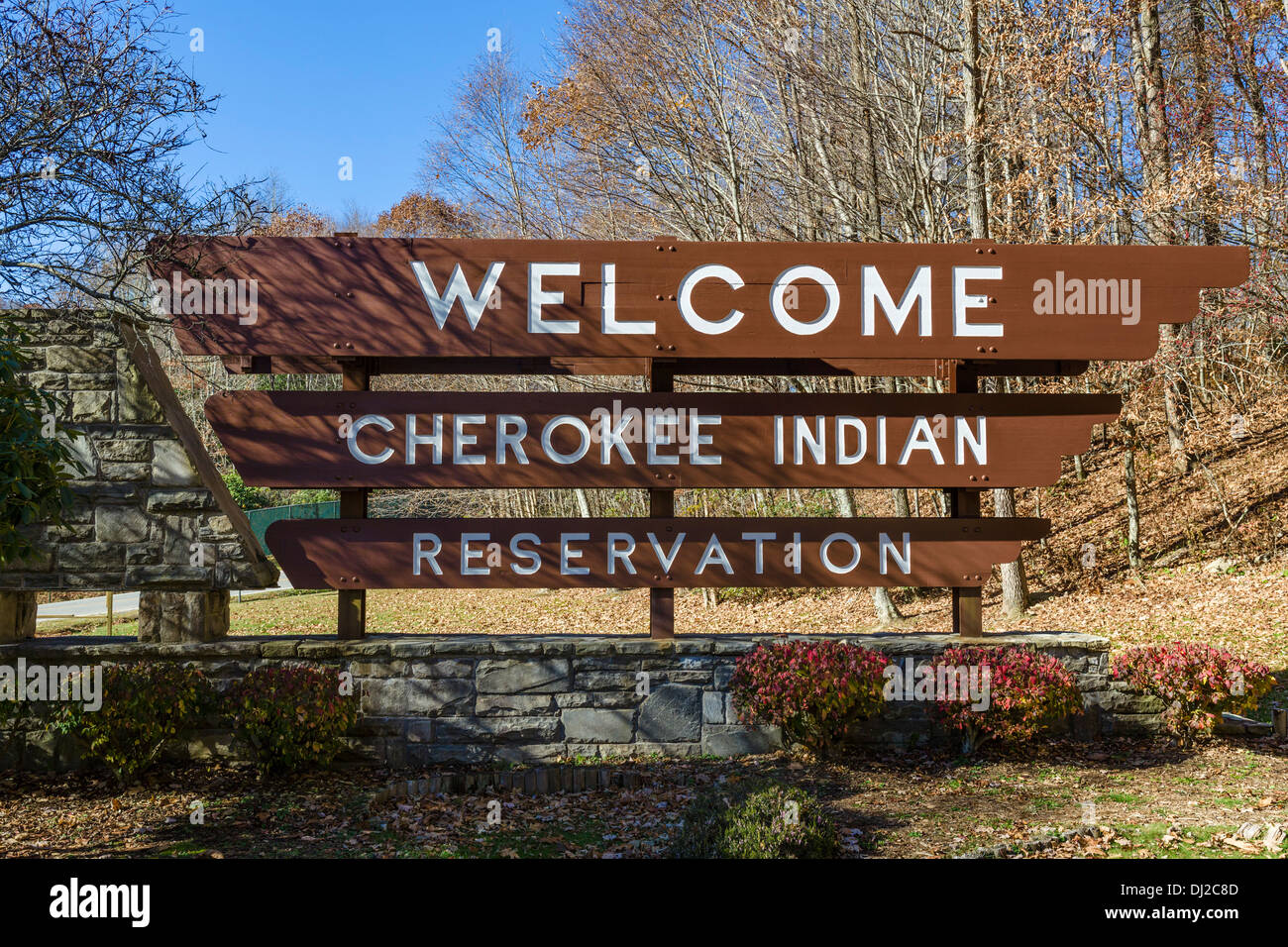 Welcome sign to the Cherokee Indian Reservation, Cherokee, North Carolina, USA - Stock Image
