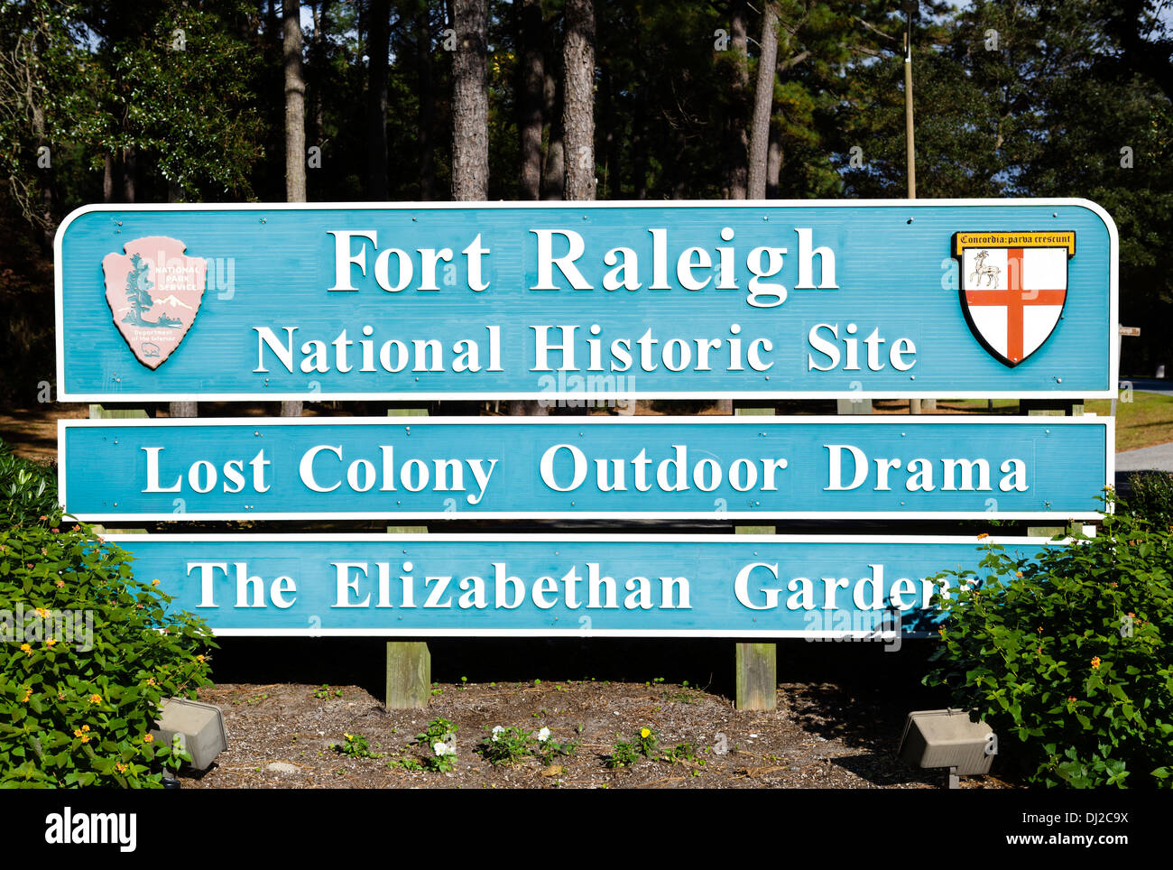 Entrance sign to Fort Raleigh National Historic Site, Roanoke Island, North Carolina, USA Stock Photo