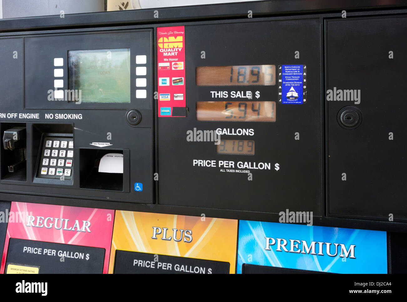 Pay at Pump Gas Pump, USA - Stock Image