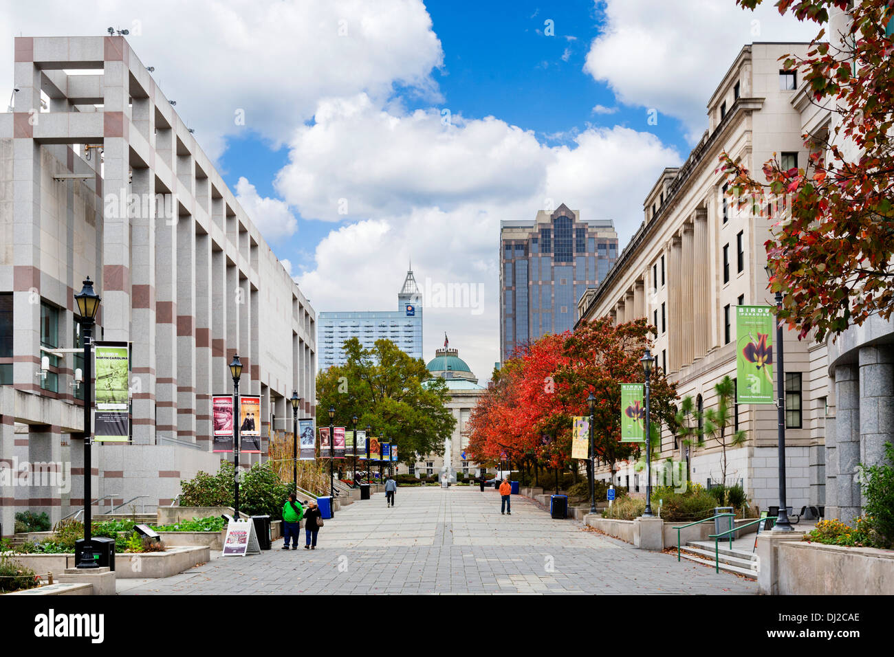 Museums and galleries on Bicentennial Plaza in downtown Raleigh, North Carolina, USA - Stock Image