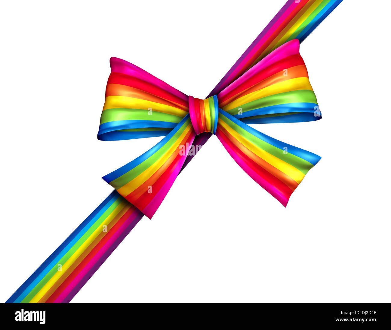Rainbow diagonal gift ribbon bow as a silk present with wrapping tape of bright spectrum colors for charity donation giving on Christmas or winter holiday new year celebration isolated on a white background. - Stock Image