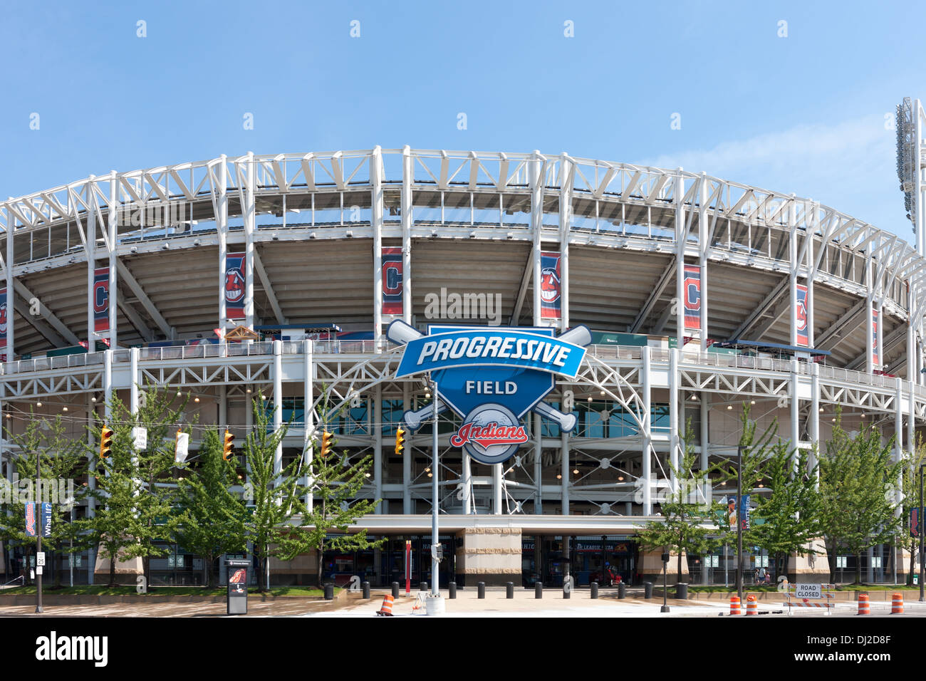 A view of Progressive Field, home of the Cleveland Indians, from Ontario Street in Cleveland, Ohio. - Stock Image