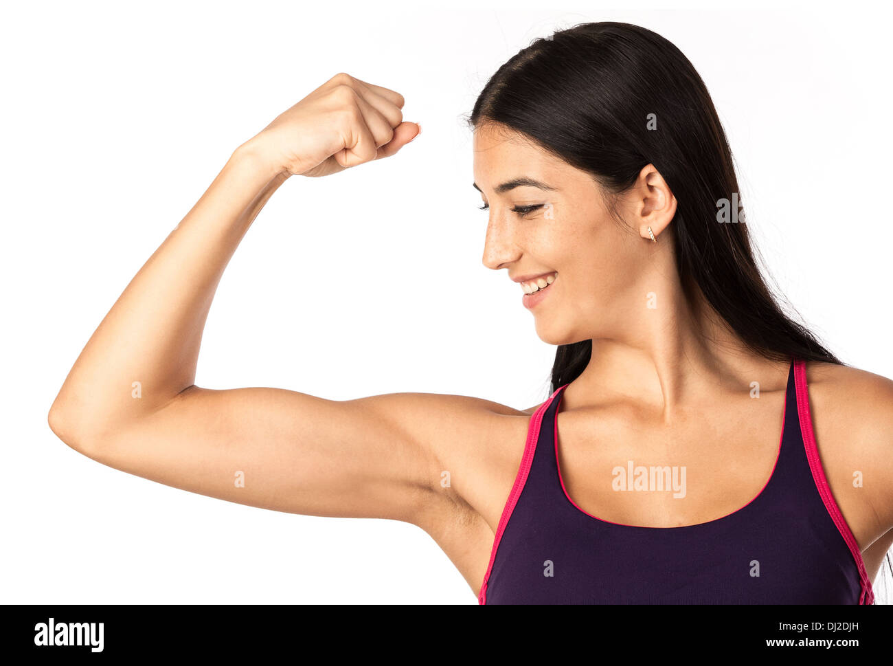 Cute Fitness Girl Flexing Bicep Over White
