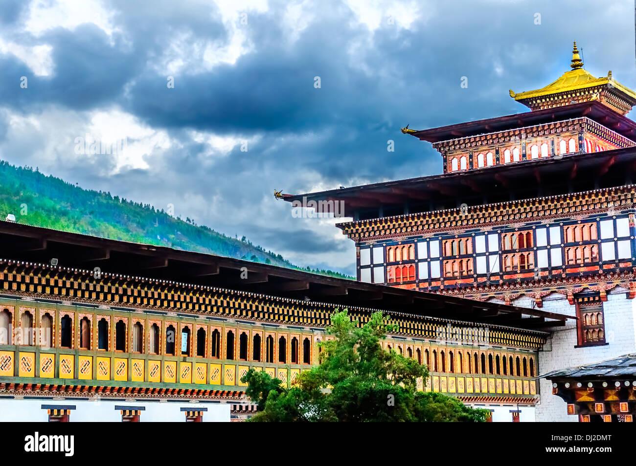 Bhutan Landmark Tashichho Dzong, Fortress, Administrative center, Royal Government of Bhutan, Thimphu, Capital city, - Stock Image