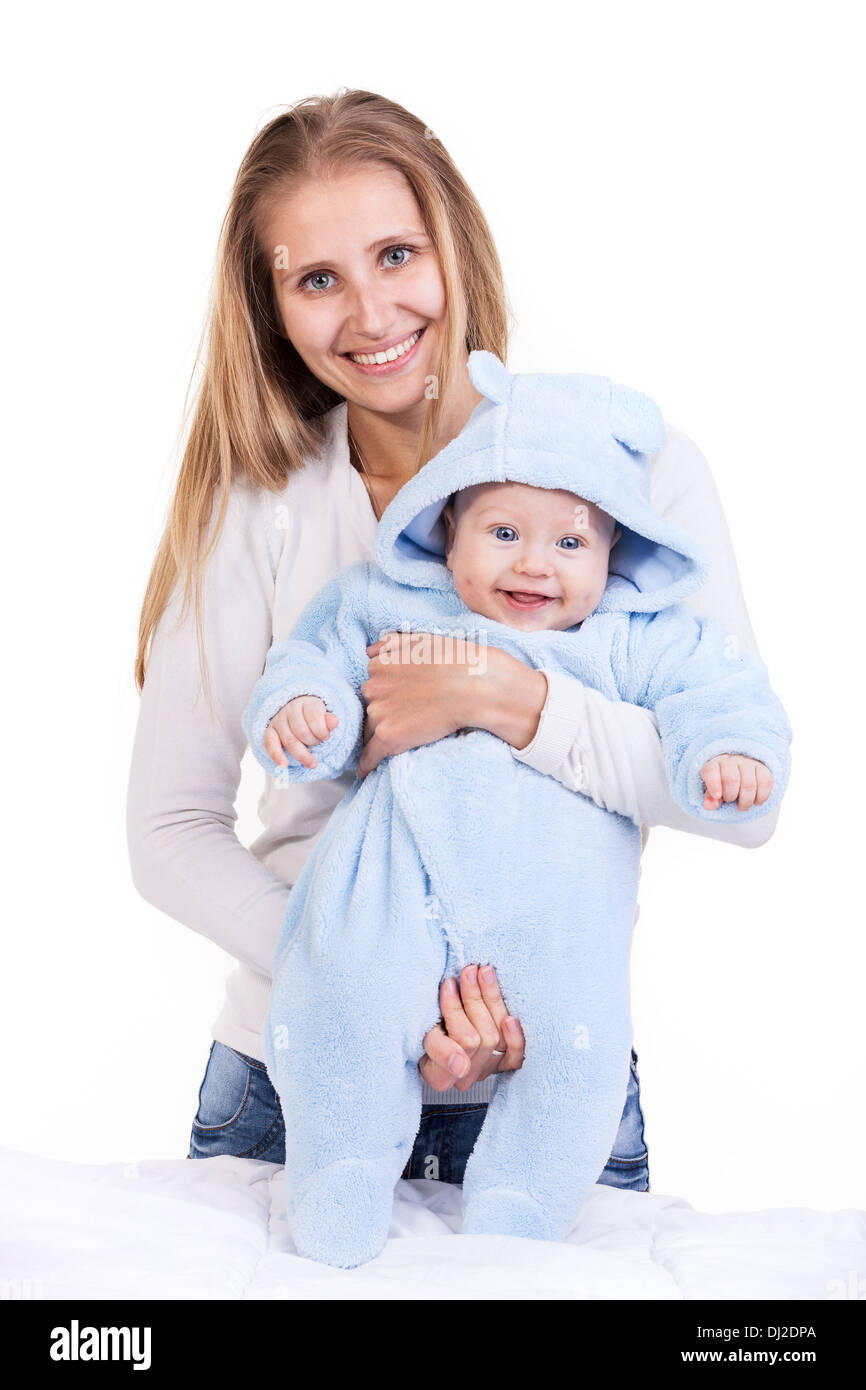 Young Caucasian woman and her baby son over white - Stock Image