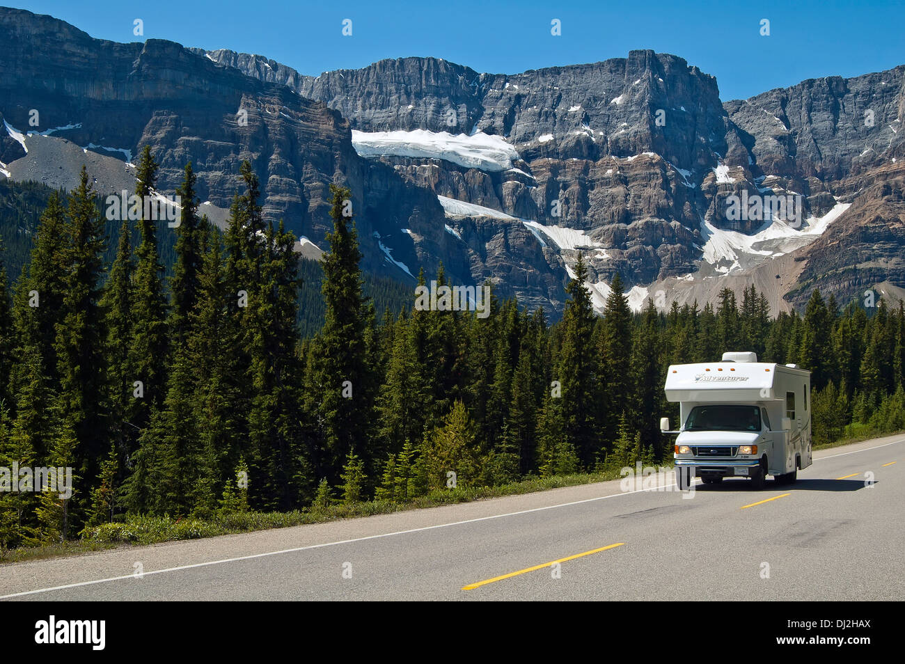 Touring The rockies in Alberta, Canada - Stock Image