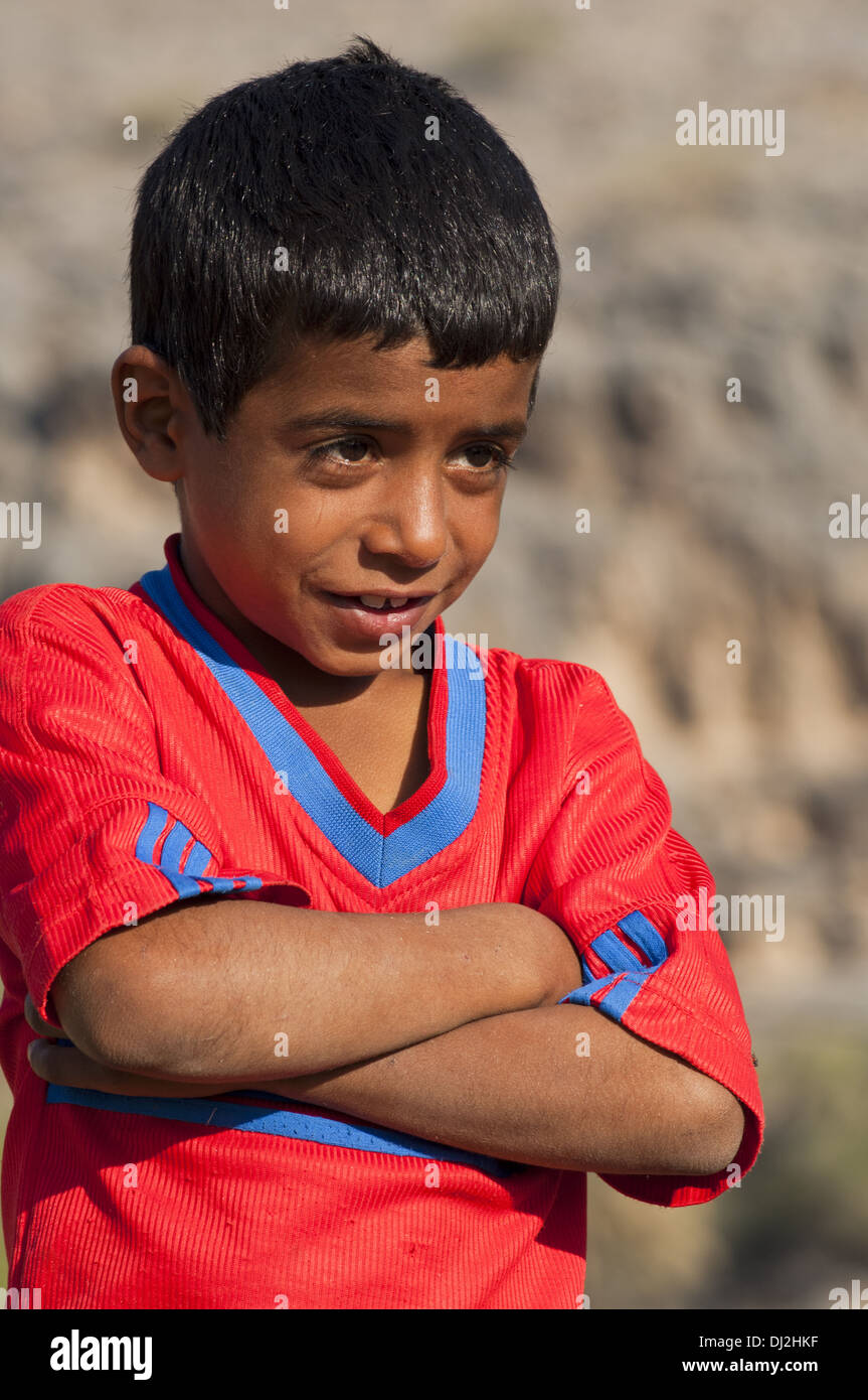 Portrait of a 7-year old Omani boy - Stock Image