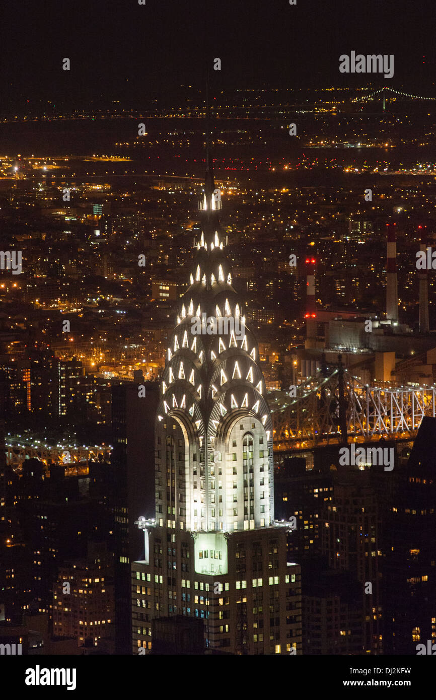The Chrysler building at night photographed from the Empire State Building. New York City, United States of America. - Stock Image