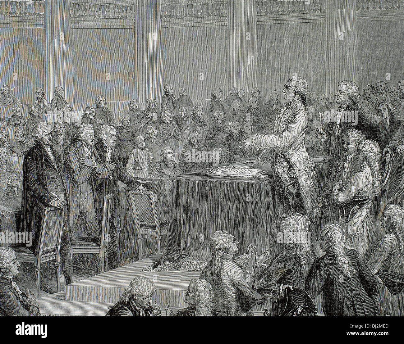 Frech Revolution 1787-1799. Louis XVI was forced to adopt the Constitution of 1791 by the National Assembly. Engraving. - Stock Image