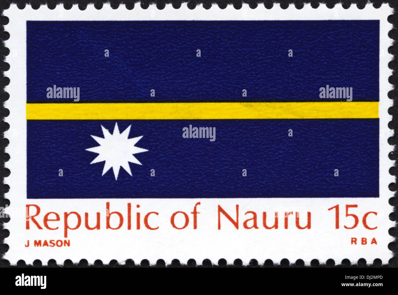 postage stamp Republic of Nauru 15c featuring national flag dated 1969 - Stock Image