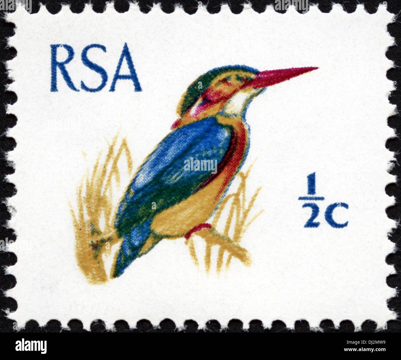 postage stamp Republic of South Africa RSA ½c featuring Kingfisher dated 1969 - Stock Image