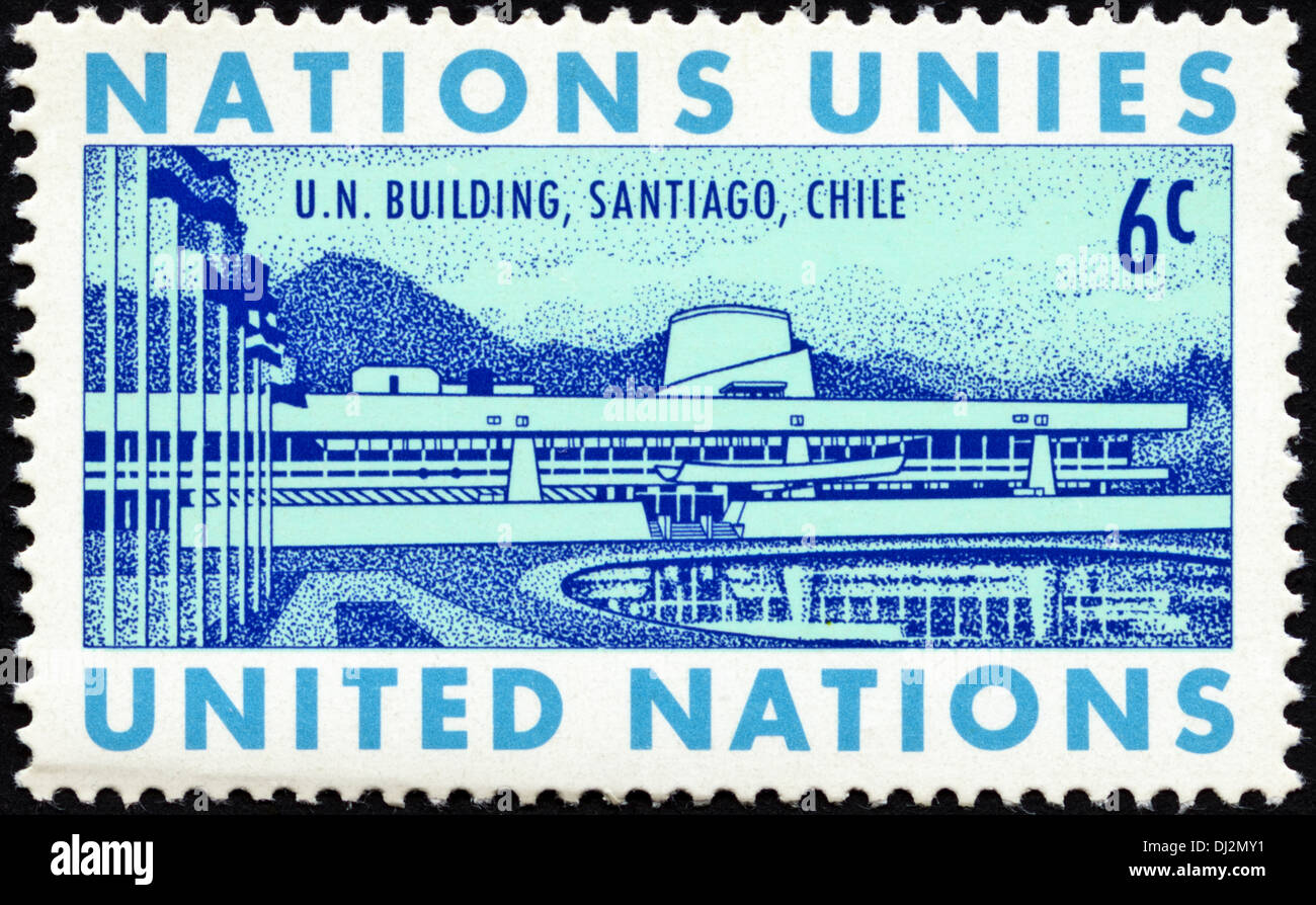 postage stamp United Nations 6c featuring U.N, Building, Santiago, Chile dated 1969 - Stock Image