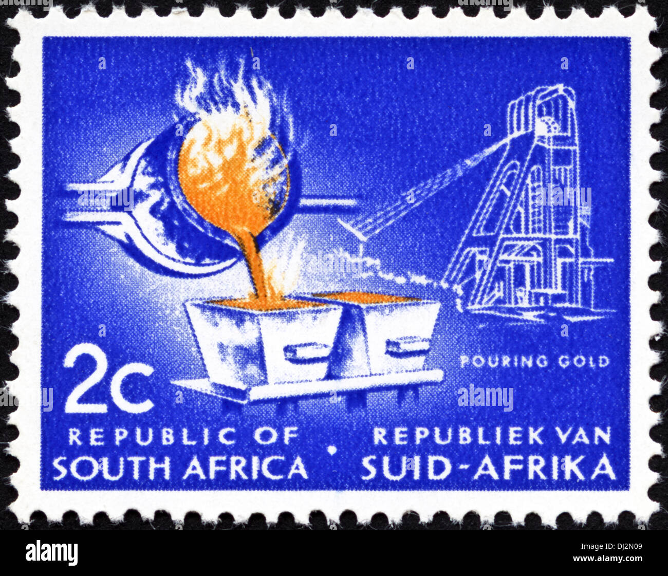 postage stamp Republic of South Africa RSA 2c featuring pouring gold mining dated 1969 - Stock Image