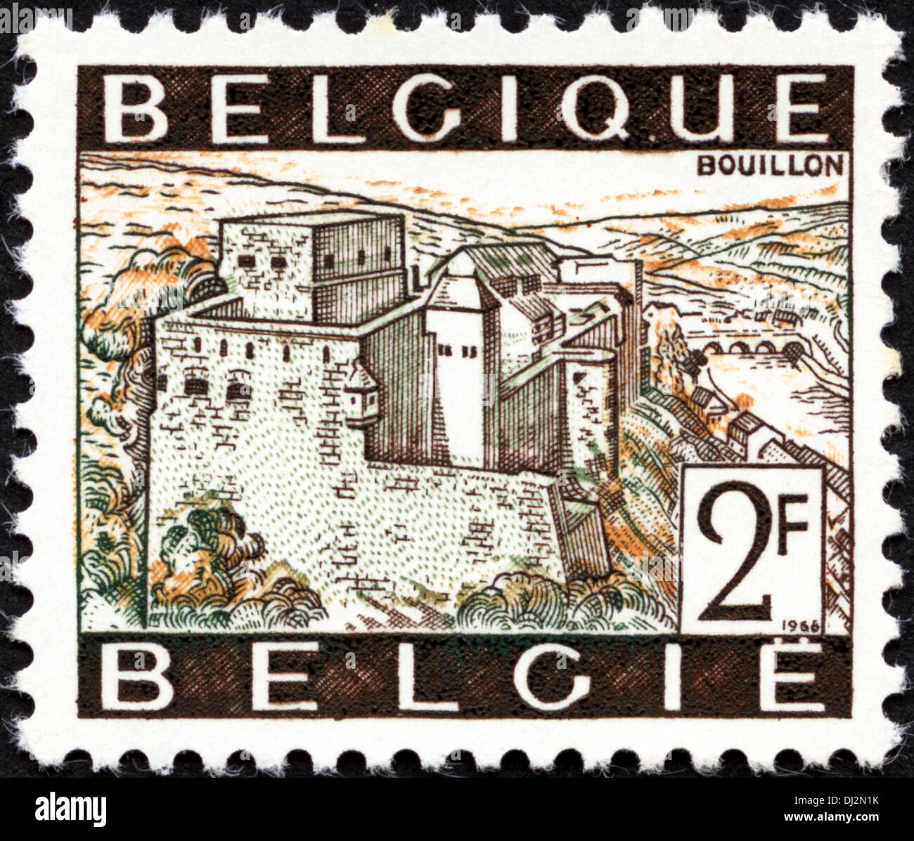 postage stamp Belgium 2F featuring the town of Bouillon dated 1966 - Stock Image