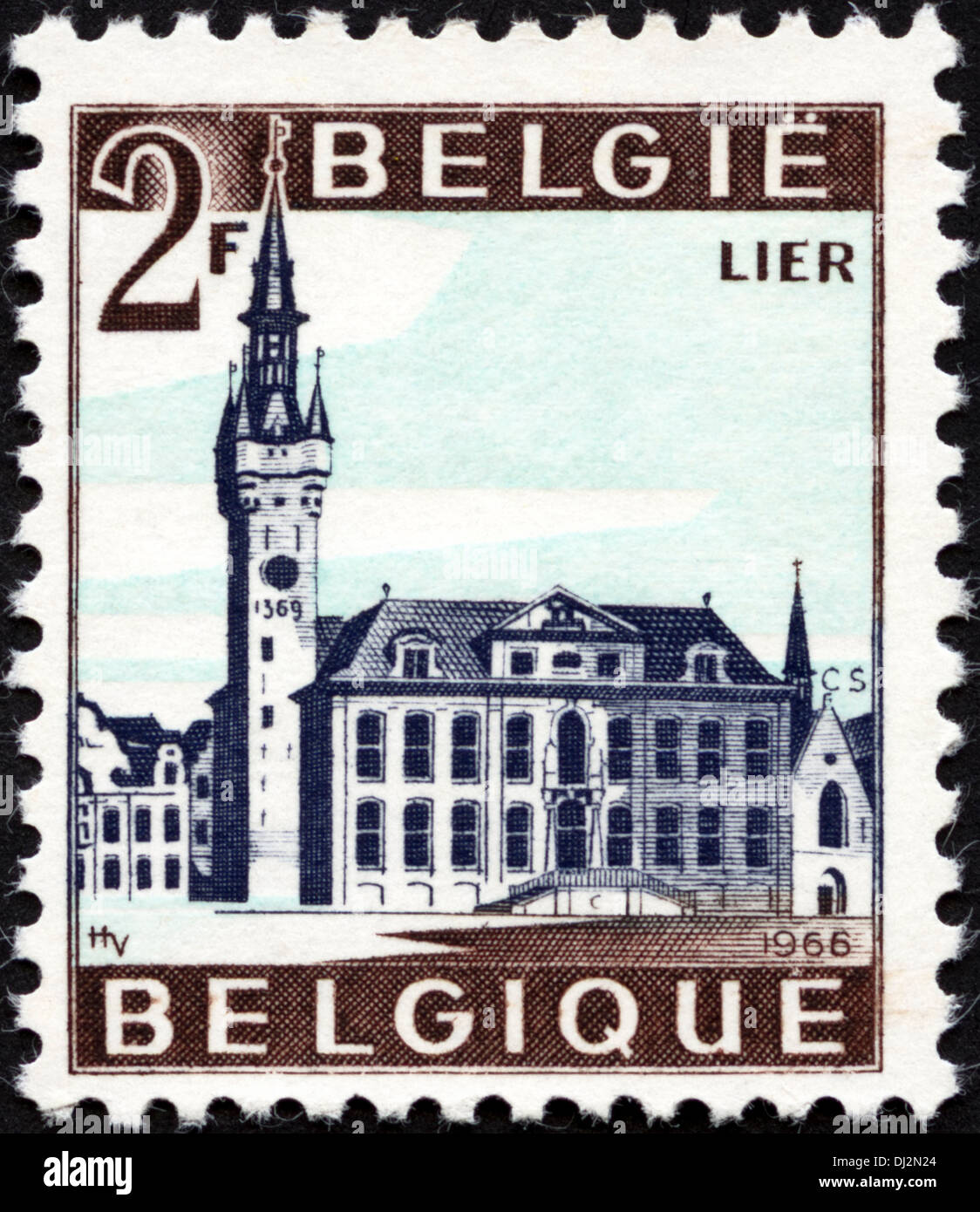 postage stamp Belgium 2F featuring the town of Lier dated 1966 - Stock Image