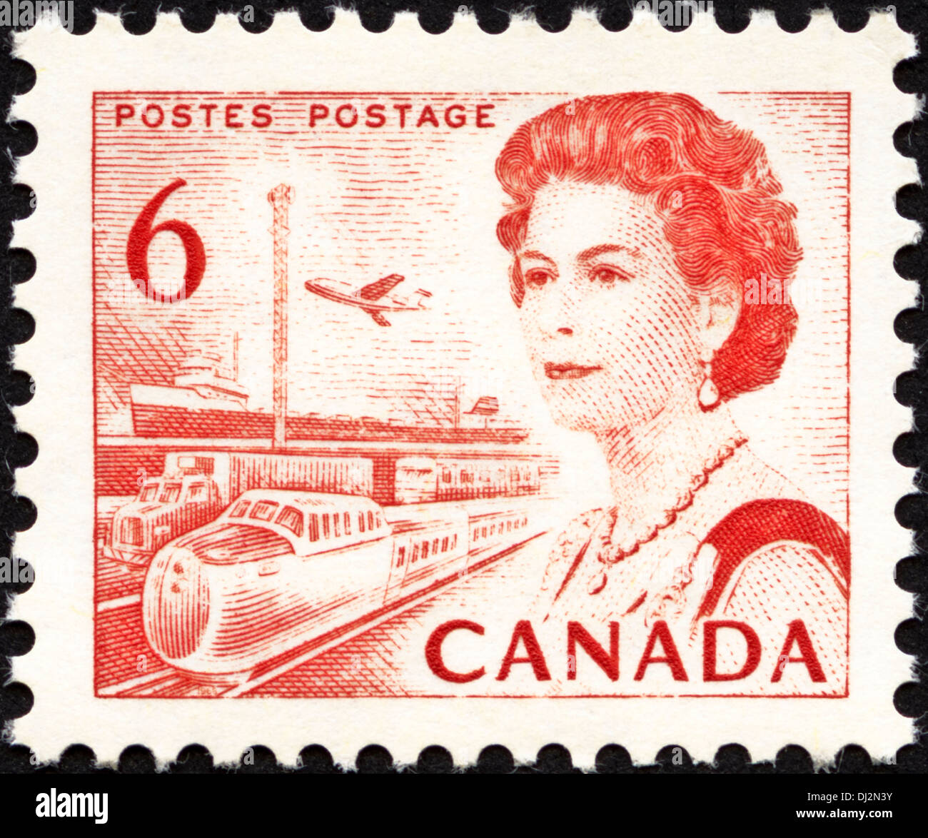 postage stamp Canada 6c featuring transport and communications dated 1968 - Stock Image