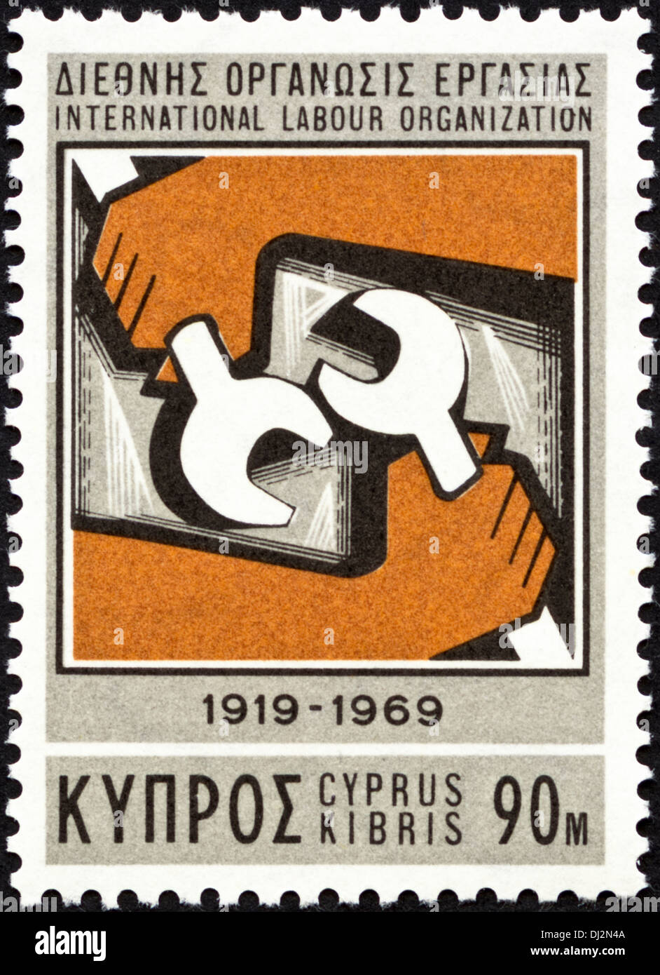 postage stamp Cyprus 90m featuring International Labour Organization 1919 - 1969 dated 1969 - Stock Image