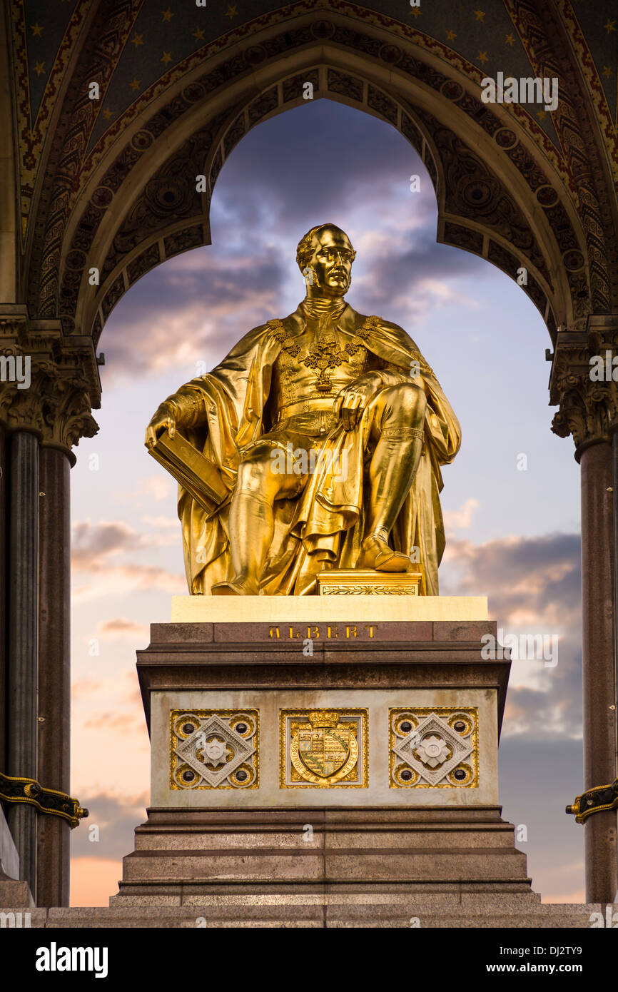 The Albert Memorial is situated in Kensington Gardens, London - England. - Stock Image