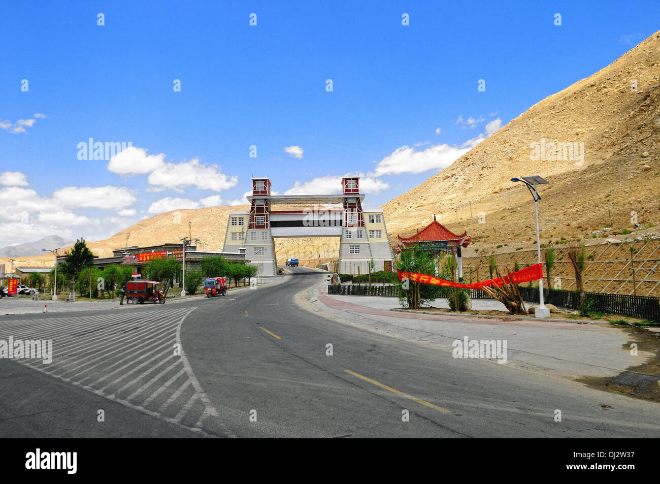City gate in the highlands Tibet - Stock Image