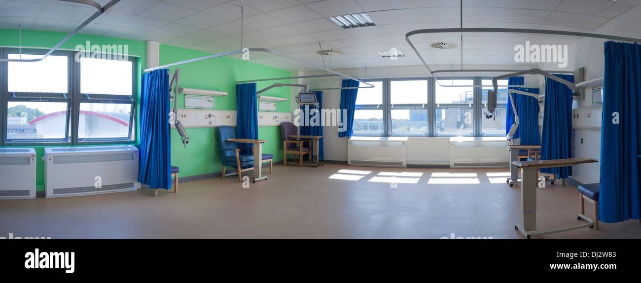 Stitched panorama of empty refurbished hospital ward. - Stock Image