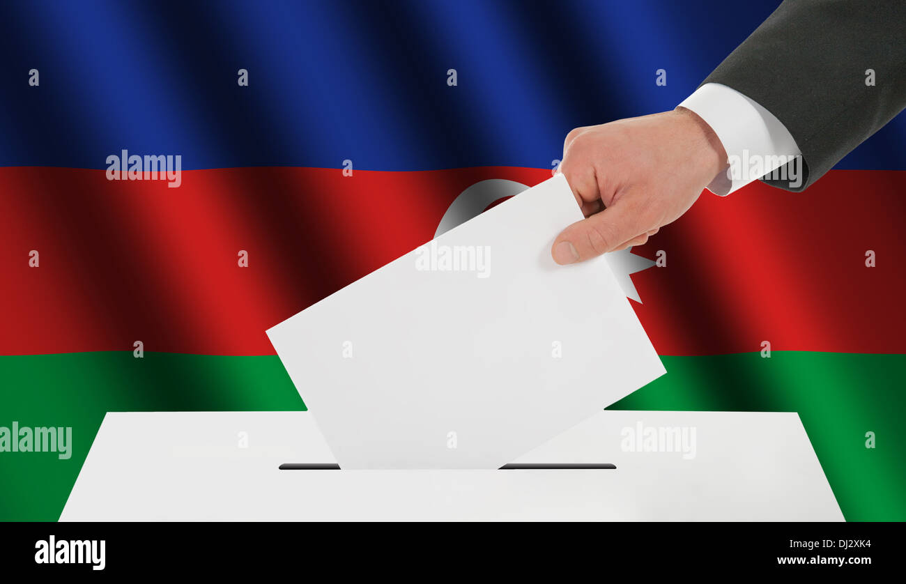 The Azerbaijani flag - Stock Image