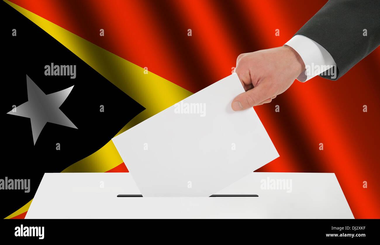 The East Timor flag - Stock Image