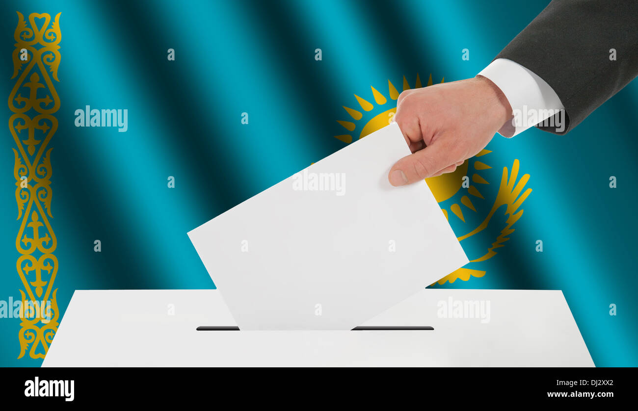 The Kazakh flag - Stock Image