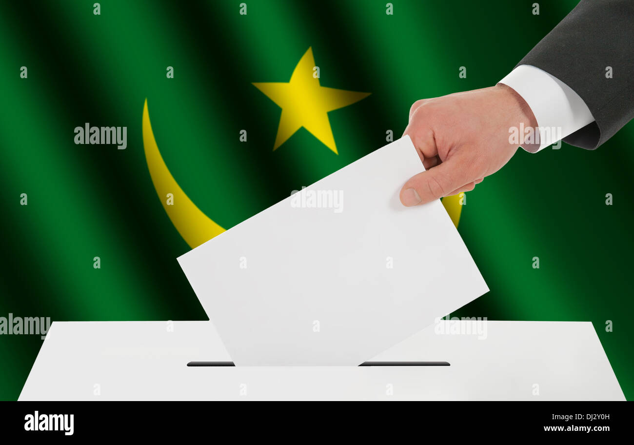 The Mauritania flag - Stock Image