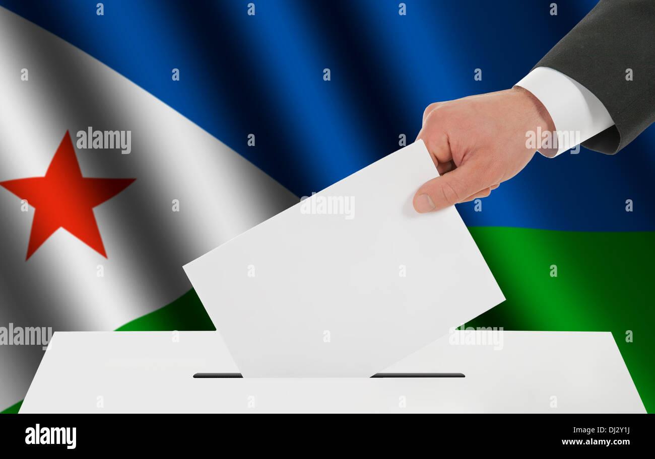 The Djibouti flag Stock Photo