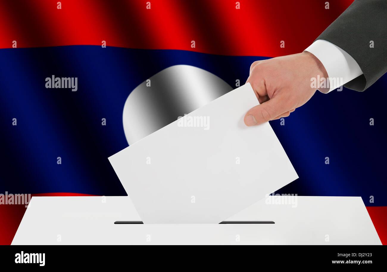 The Laotian flag - Stock Image