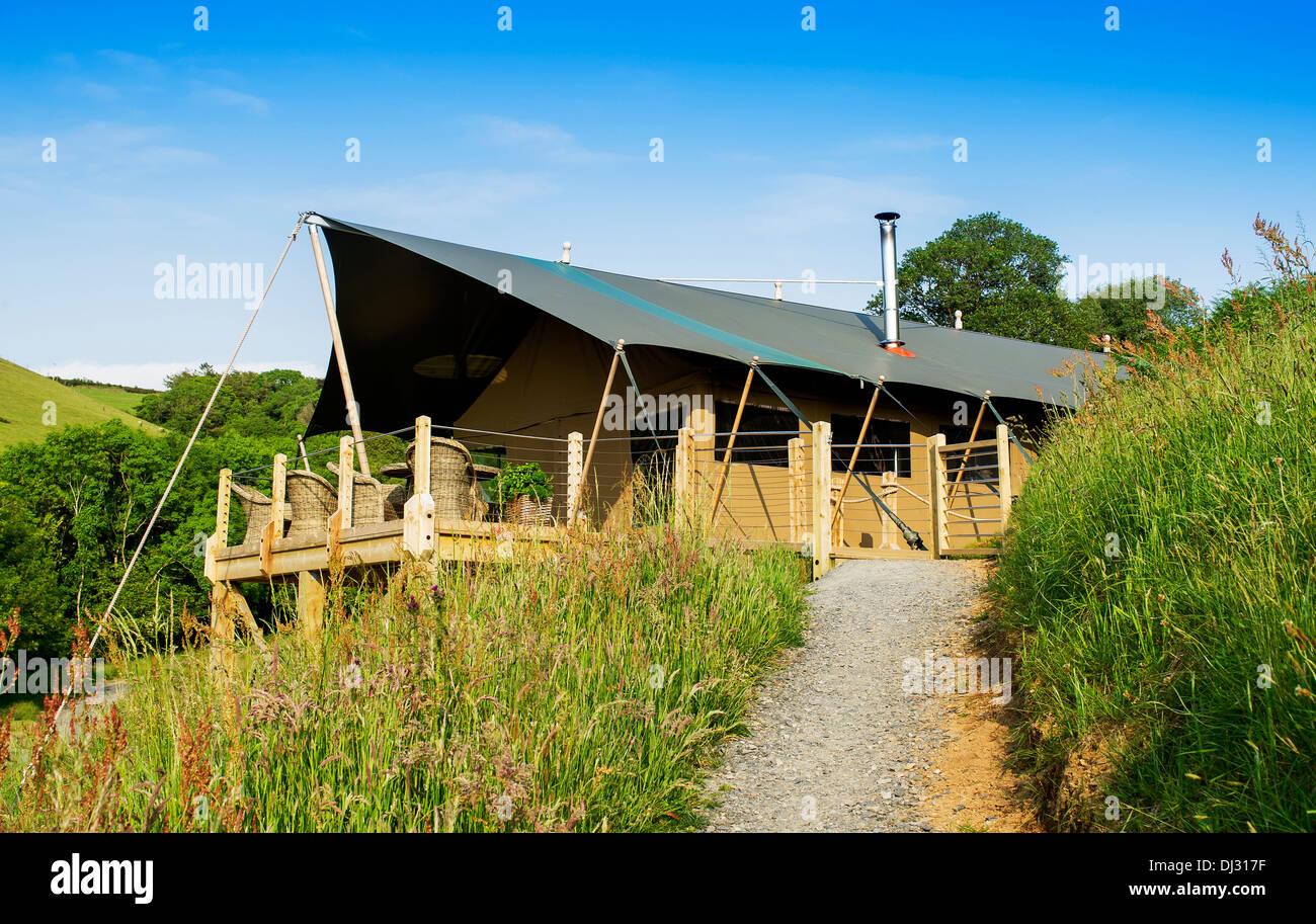 Longlands luxury glamping lodges,  Devon UK - Stock Image