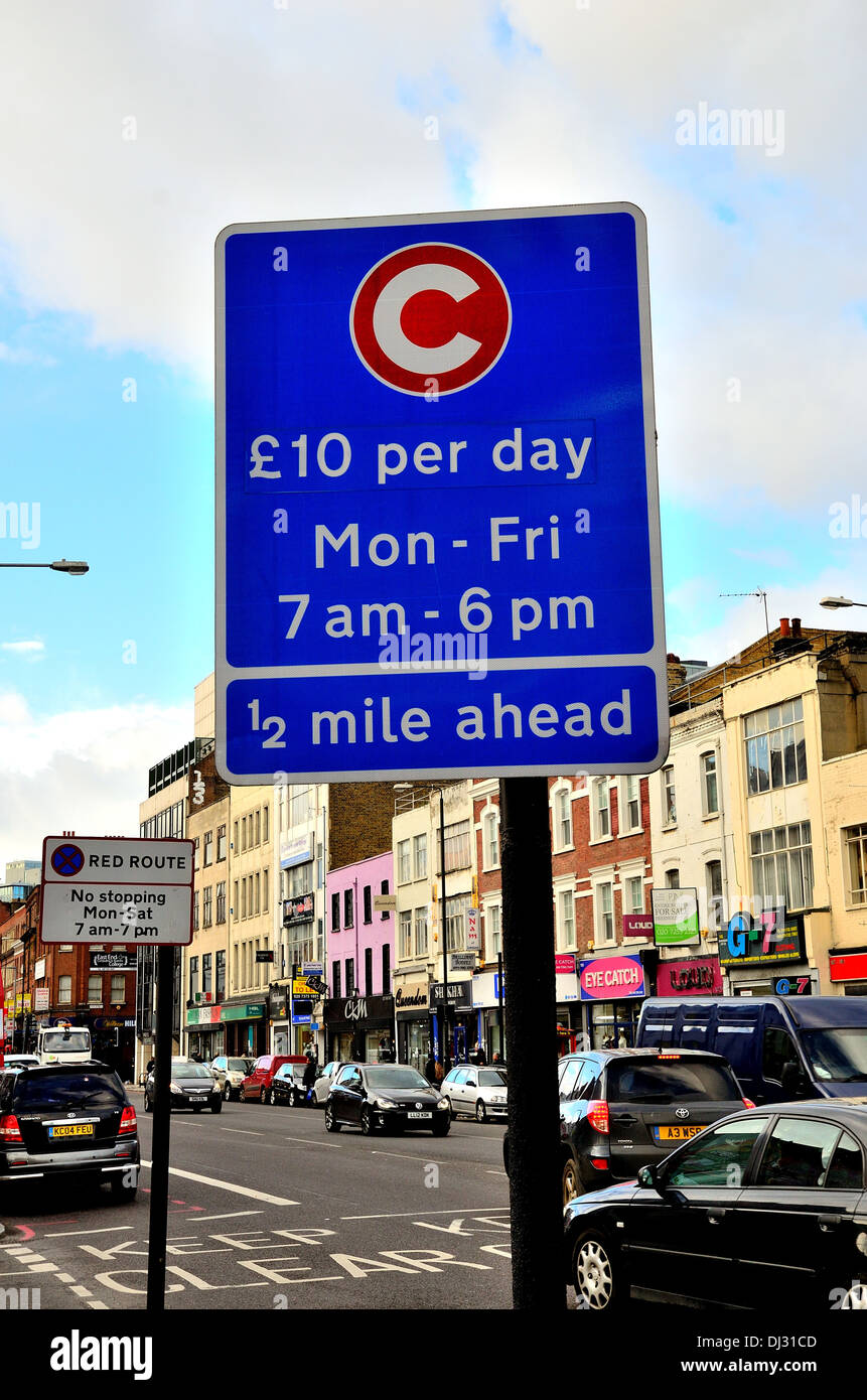 London congestion charge roadside sign - Stock Image