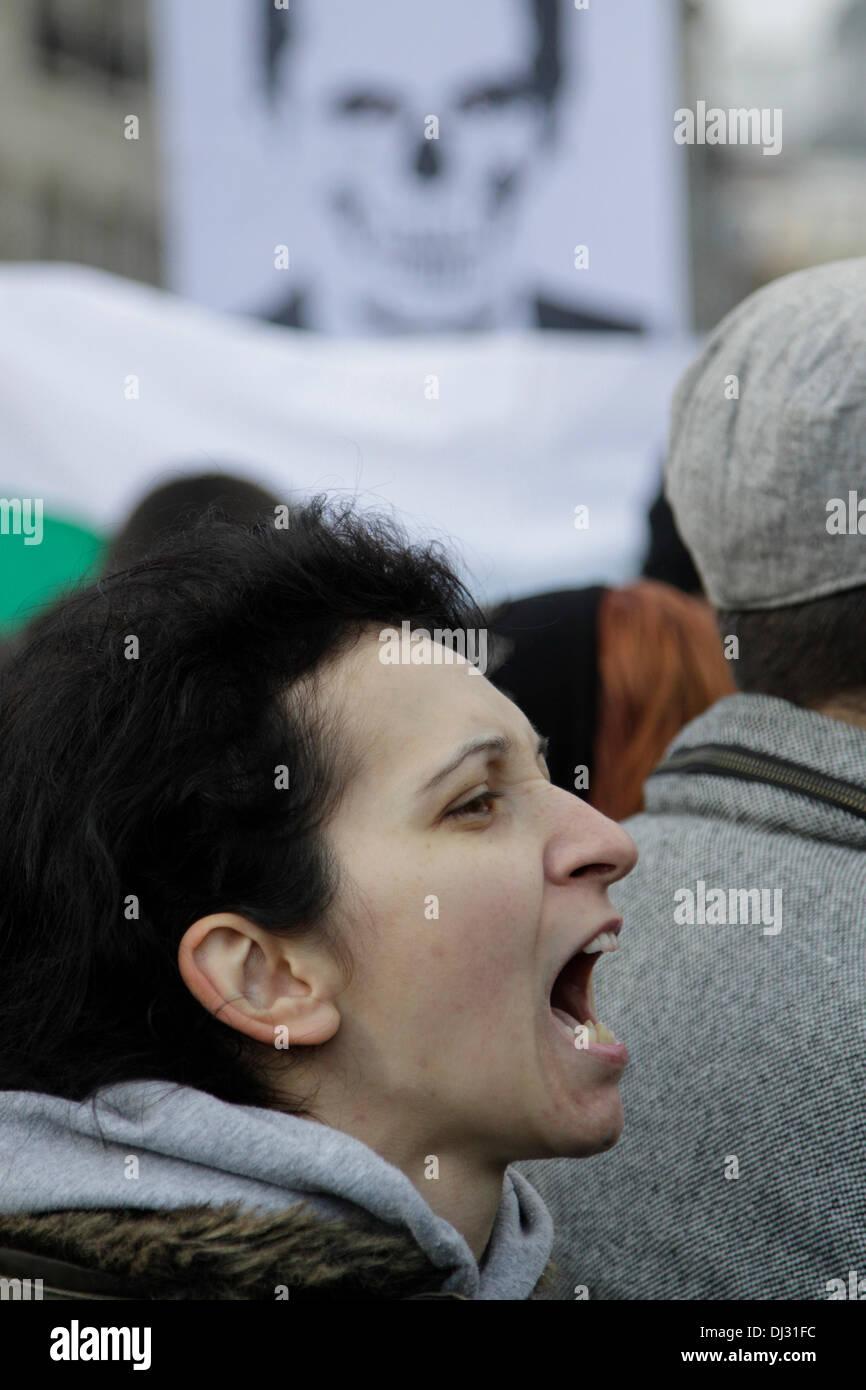 Sofia, Bulgaria; 20 November 2013. Demonstrator shouting 'Resign! Resign!' during the anti-government rally of university students.  (Credit: Johann Brandstatter / Alamy Live News) - Stock Image