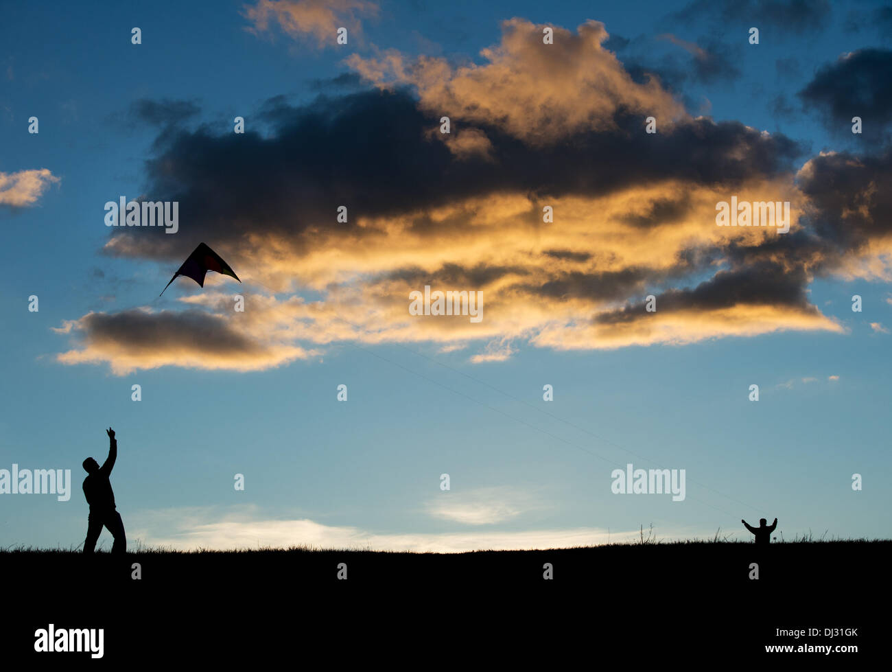 Dresden, Germany. 9th Nov, 2013. A man and a boy are letting their kite fly in the Autumn sky on the Truemmerberg Stock Photo