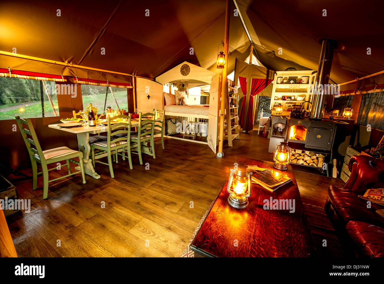 interior at night at Longlands luxury glamping lodges,  Devon UK - Stock Image