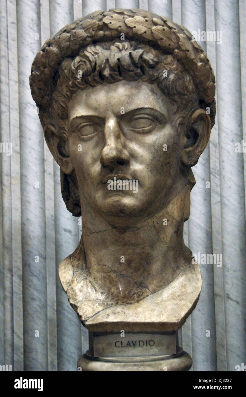 Emperor Claudius (10 BC-54 AD). Bust showing Claudius wearing the civil crown, a diadem of oak leaves. - Stock Image