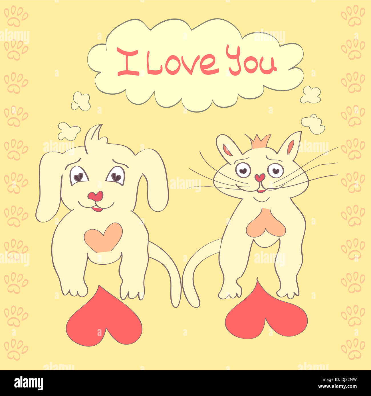 Valentine Dog And Cat Cute Cartoon Character Love Heart Valentines