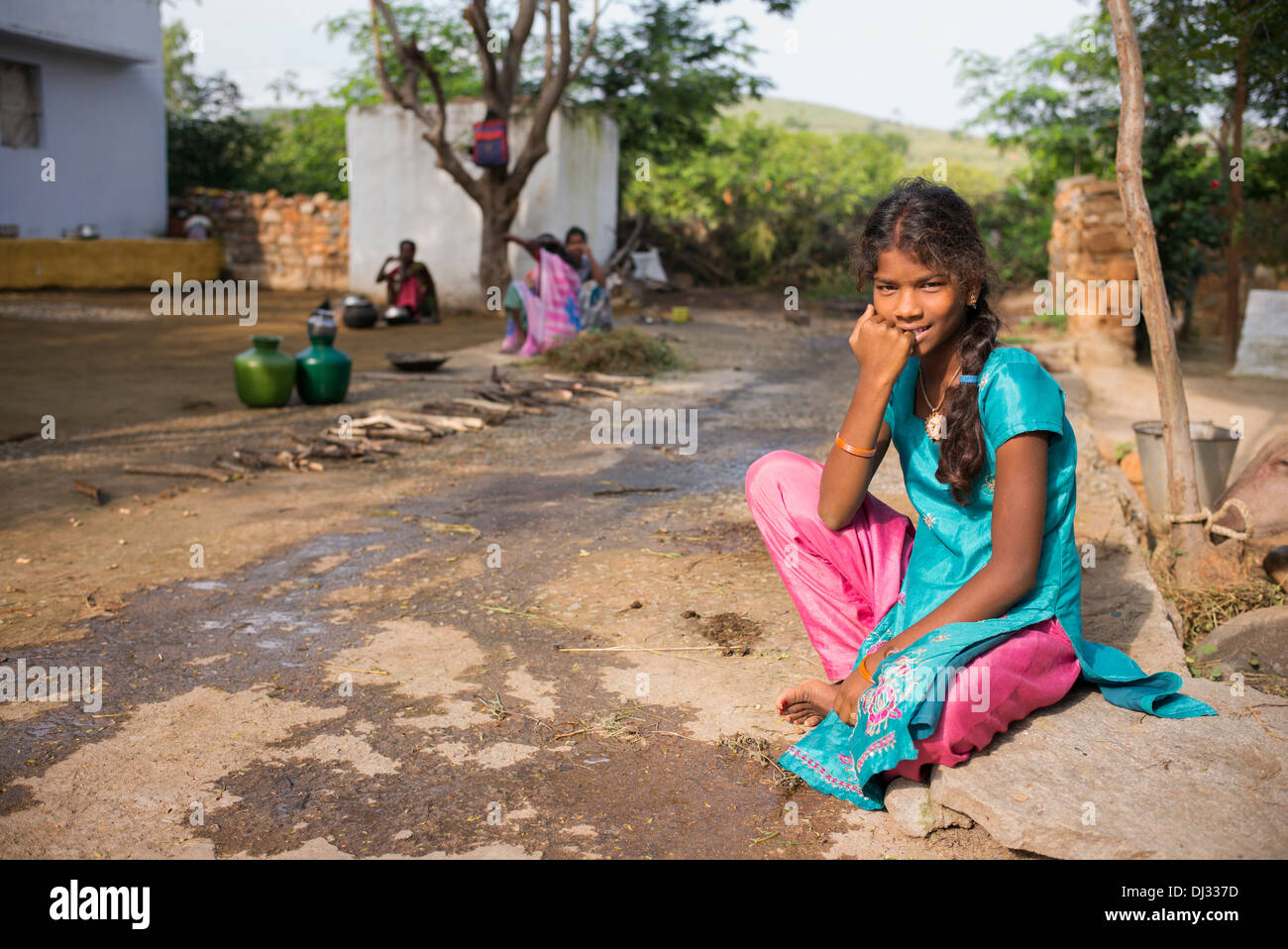 Nice Indian Teenage Girl Sat Outside Her Rural Indian Village Home. Andhra  Pradesh, India