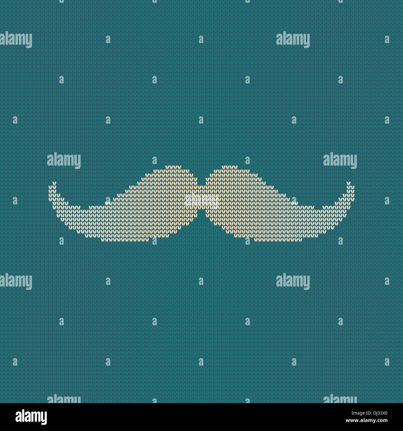 Hipster trend: vintage knitted moustache on blue background - Stock Image