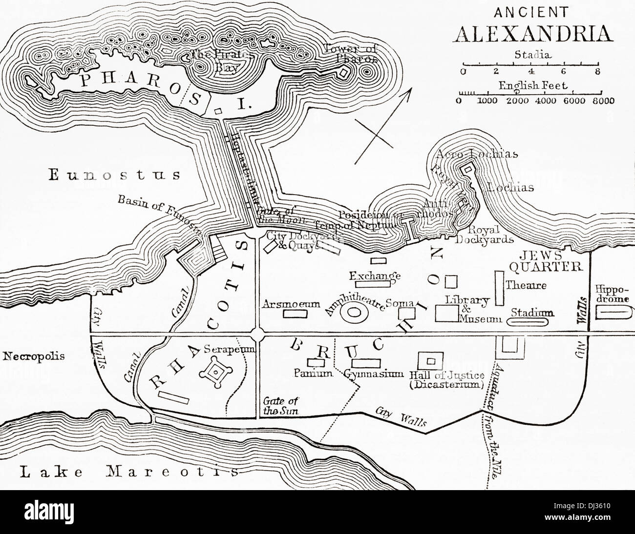 Map of ancient Alexandria, Egypt. - Stock Image