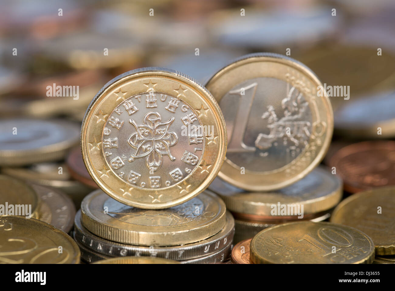 A one Euro coin from the EU member country Portugal - Stock Image