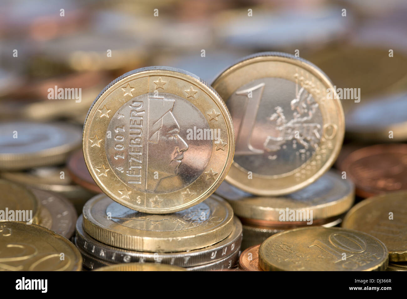 A one Euro coin from the EU member country Luxembourg - Stock Image