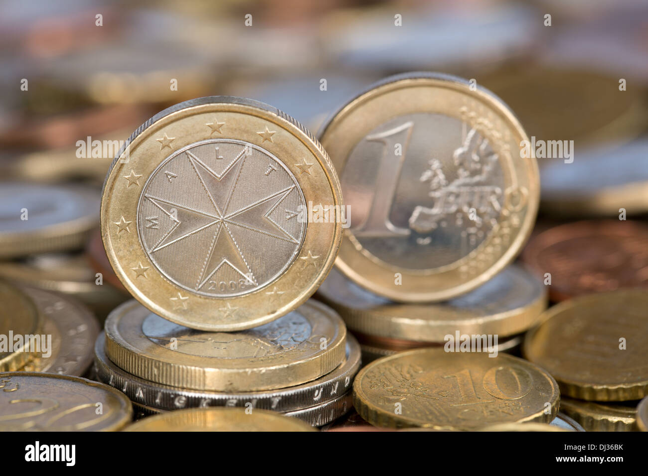 A one Euro coin from the EU member country Malta - Stock Image