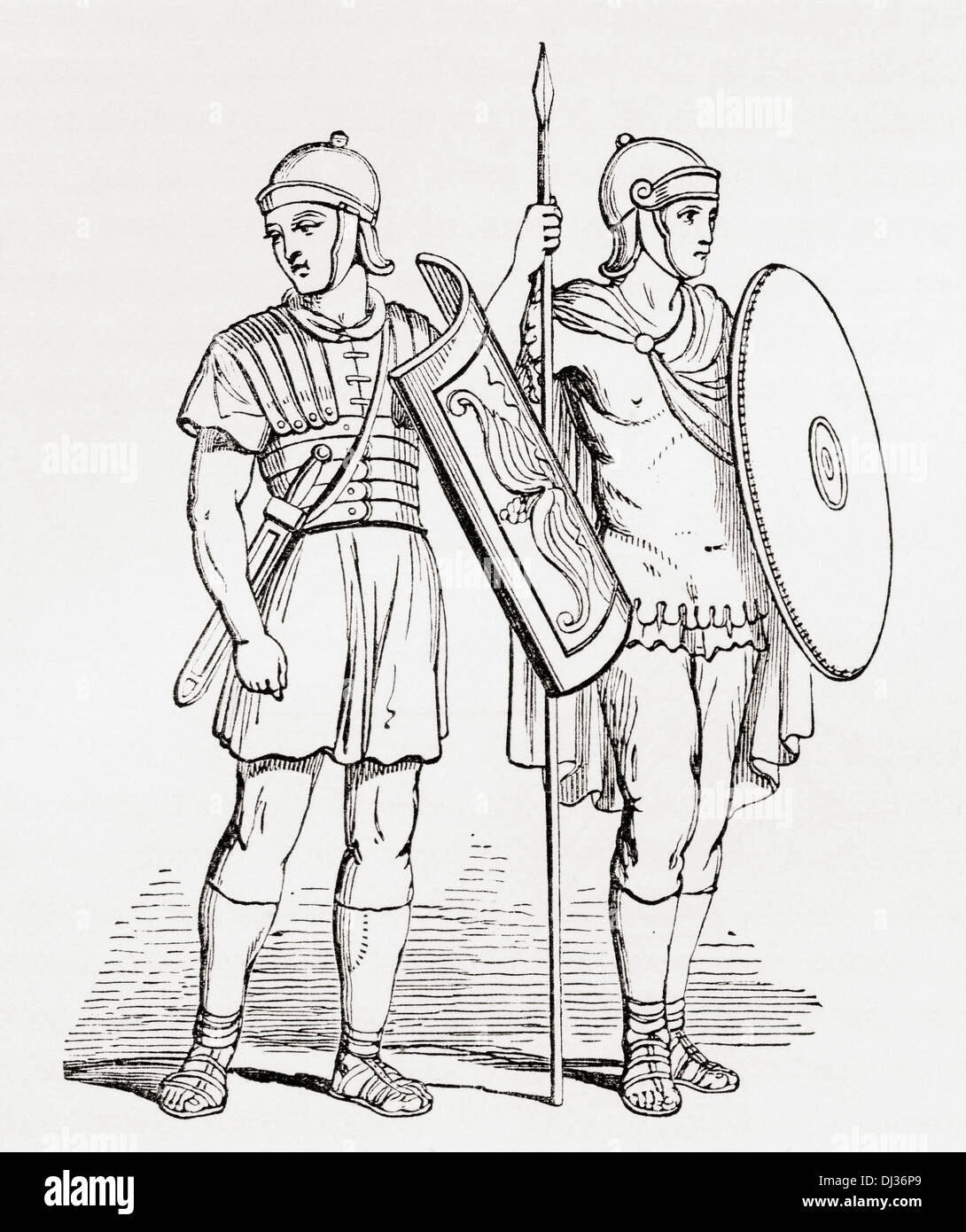 Roman infantry soldiers, after figures on Trajan's Column. - Stock Image