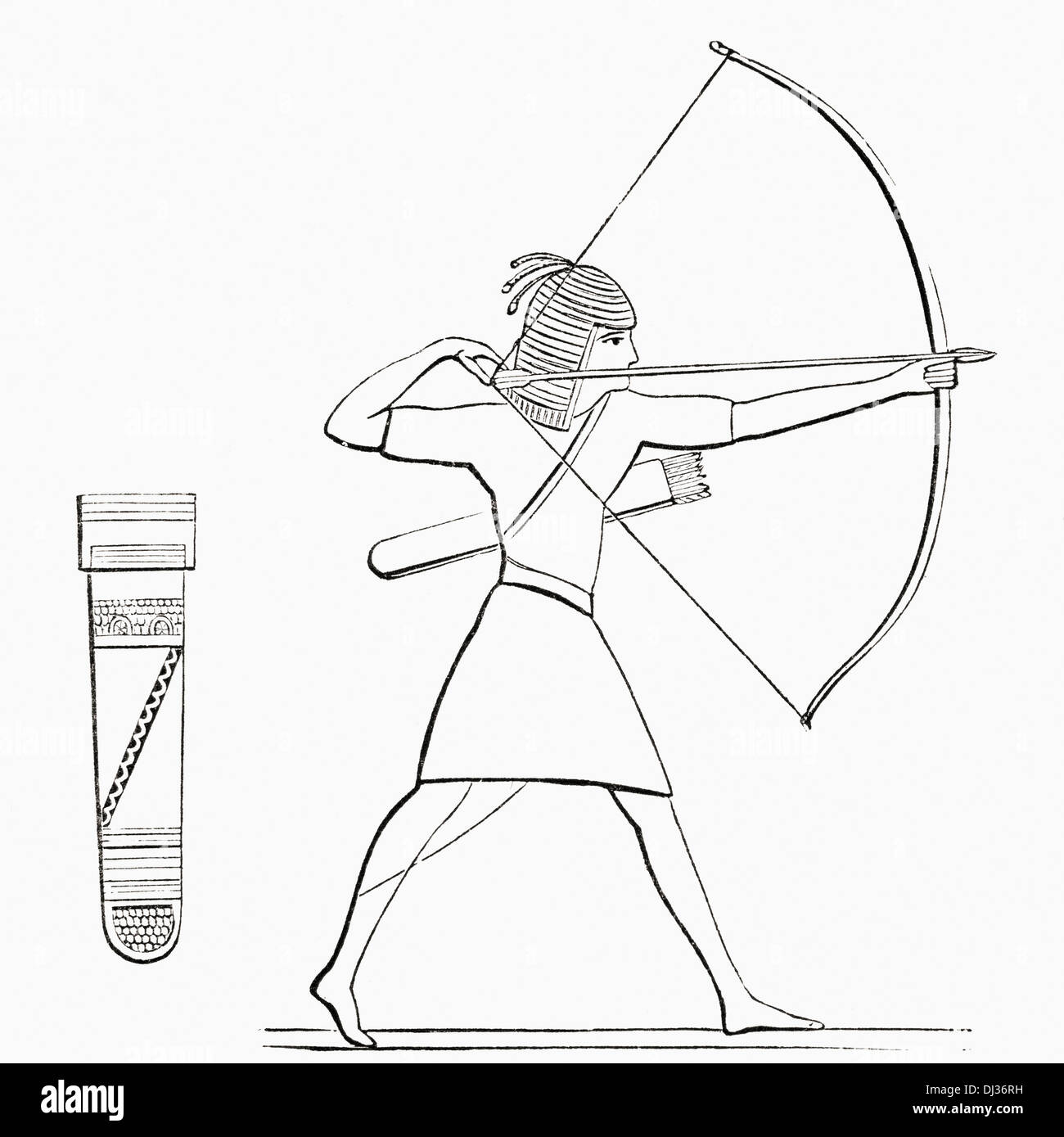 ancient bow and arrow egypt stock photos ancient bow and arrow 13 Century English Armor egyptian archer and quiver stock image