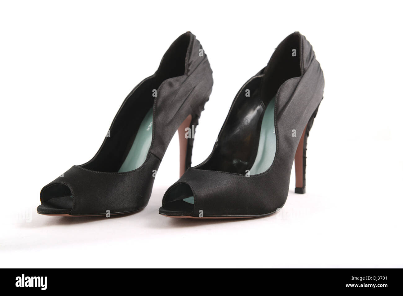 Black ladies shoes with stiletto heels mad by Kurt Gieger - Stock Image