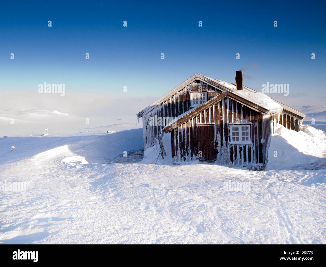 A mountain hut on the Hardangervidda, Norway - Stock Image